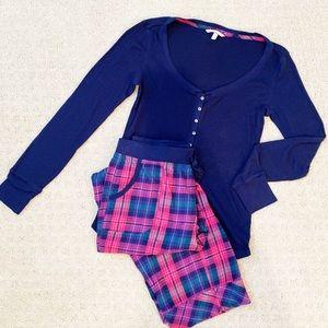 Victoria Secret Navy & Pink Plaid Thermal Pajamas